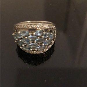 Jewelry - Ring 925 silver Zc and stone aqua Marina